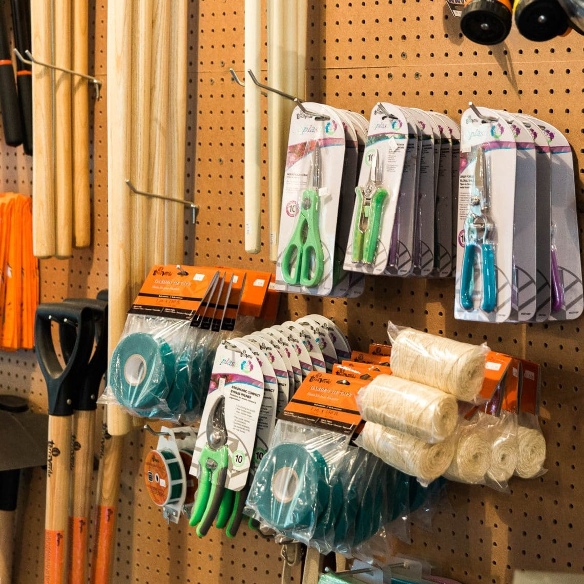 Trimmers, gloves, shovels, rakes, trowels, and other gardening and landscaping supplies at Kalleco Nursery Corp, Ulster County Garden Center.