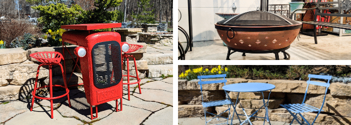 Fire pits and rustic patio furniture at Kalleco Nursery.