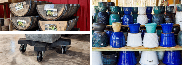 Garden pots, pottery, and planters at Kalleco Nursery