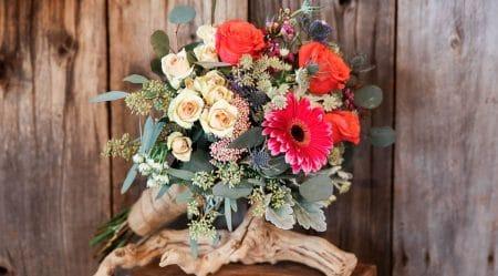 bright, colorful, romantic Wildflower Bridal Bouquet by Kalleco Nursery Florist.