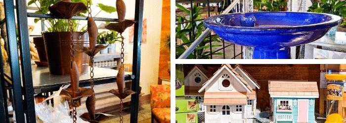 Rain chains, birdhouses, birdbaths, and other garden accents at Kalleco Nursery